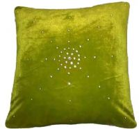 "DIAMANTÉ VELVET DESIGNER FILLED CUSHION  LIME GREEN COLOUR LARGE SIZE 22"" x 22"""
